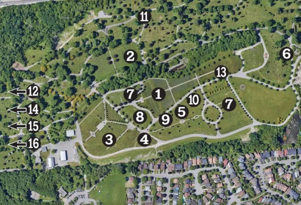 Numbered map of beechwood cemetery