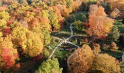 Drone photo of the Botanical Garden in the Fall 2