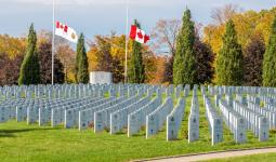 National Military Cemetery Flags at half mast